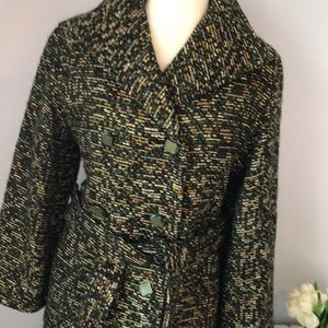 Vintage houndstooth wool coat with pockets